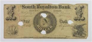 VERMONT SOUTH ROALTON BANK 1 1850S