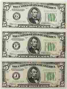 THREE 1934C 500 FEDERAL RESERVE NOTES