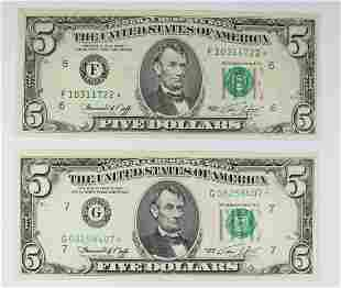 TWO 1974 500 FEDERAL RESERVE STAR NOTES