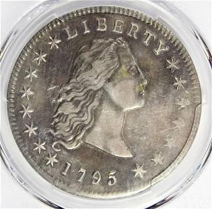 1795 FLOWING HAIR DOLLAR 3 LEAVES
