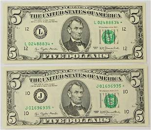 TWO 1977 500 FEDERAL RESERVE STAR NOTES