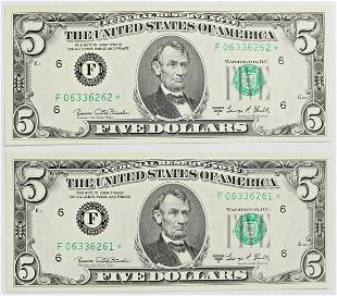 TWO 1969C 500 ATLANTA FEDERAL RESERVE NOTES