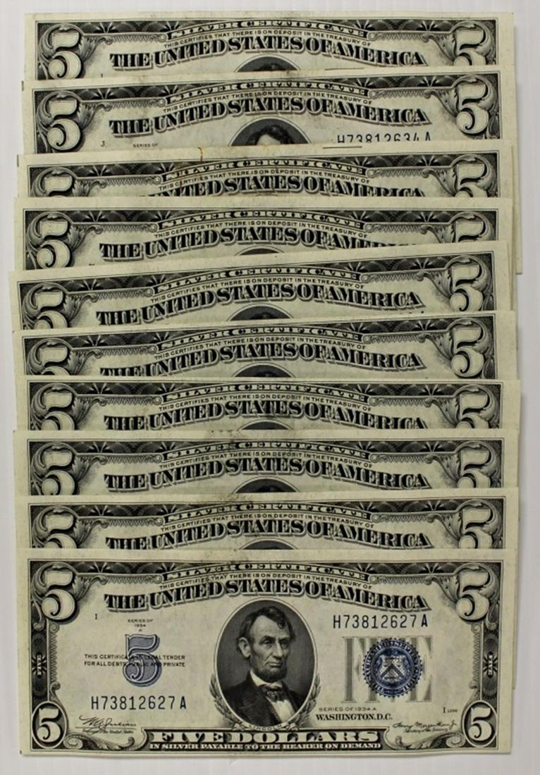 (10) 1934-A $5.00 SILVER CERTIFICATES