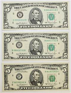 THREE 1981 500 FEDERAL RESERVE NOTES