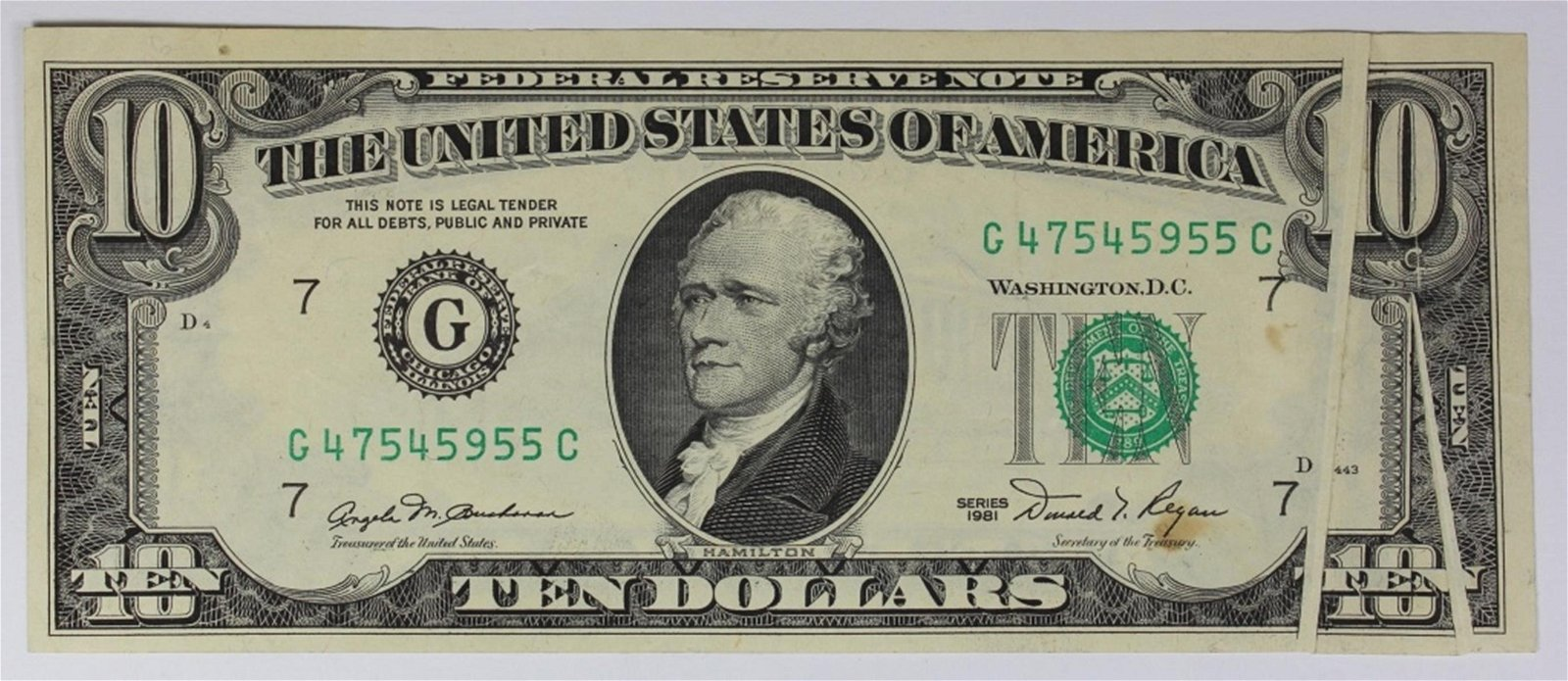 1981 $10.00 FEDERAL RESERVE NOTE