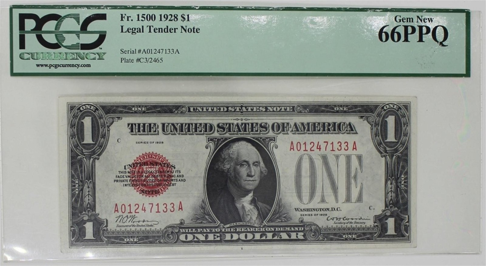 1928 FR 1500 $1 LEGAL TENDER RED SEAL
