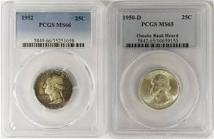 2 PCGS GRADED WASHINGTON QUARTERS