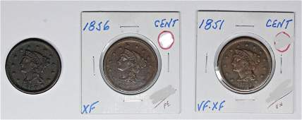 1856 1851 AND 1850 US LARGE CENTS