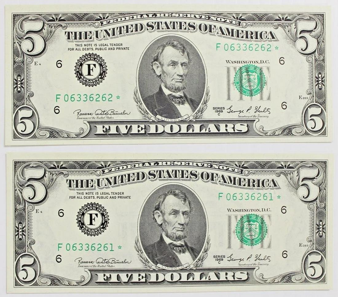 TWO 1969-C $5.00 ATLANTA FEDERAL RESERVE NOTES
