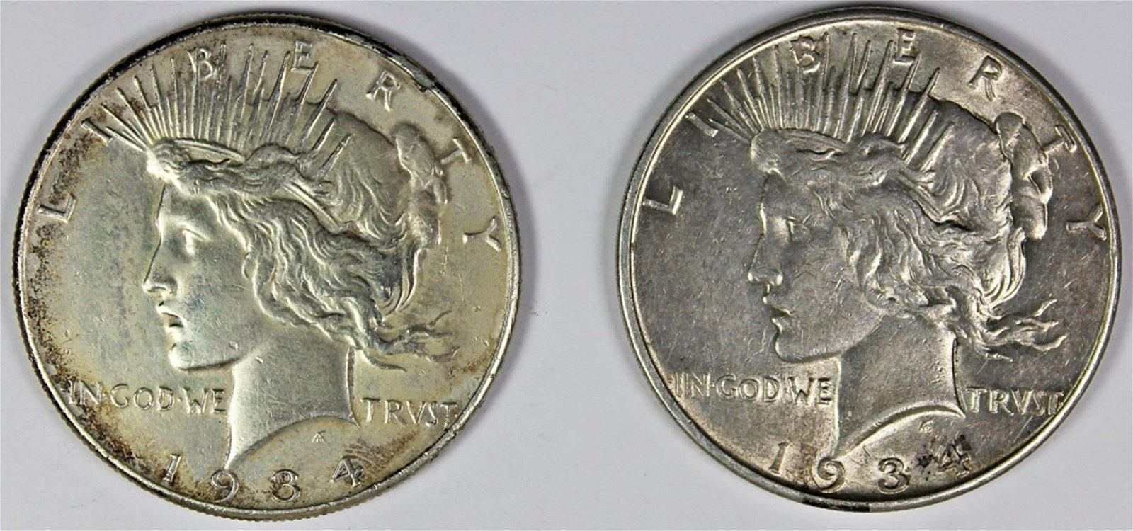 TWO PEACE DOLLARS: