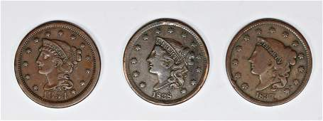 1854 1838 AND 1837 US LARGE CENTS