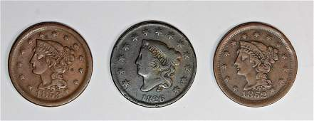 1852 1853 AND 1826 US LARGE CENTS