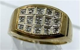 VINTAGE 10K YELLOW GOLD GENTS DIAMOND RING