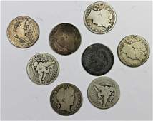 EIGHT DIFFERENT CIRCULATED BARBER HALF DOLLARS