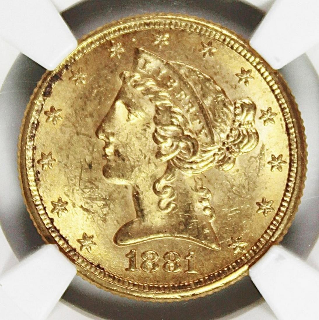 1881 $5.00 LIBERTY GOLD