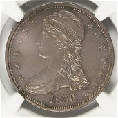 1836 REEDED EDGE BUST HALF DOLLAR