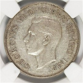 1947 CURVED 7 MAPLE LEAF CANADA HALF DOLLAR