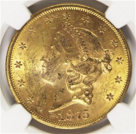 1875-S $20 GOLD