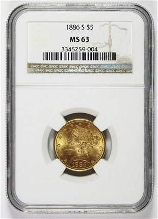 1886-S $5 LIBERTY GOLD