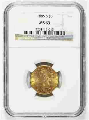 1885-S $5.00 LIBERTY GOLD