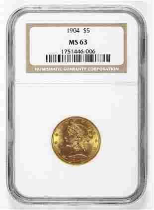 1904 $5.00 LIBERTY GOLD