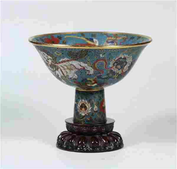 A Cloisonné Enameled Bronze Stem Cup With Mark