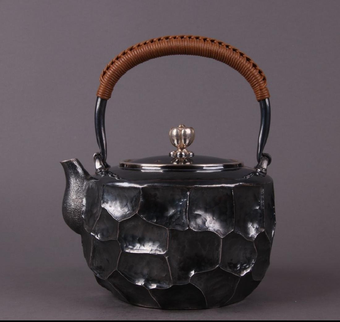 Japanese Silver Tea Pot With Mark
