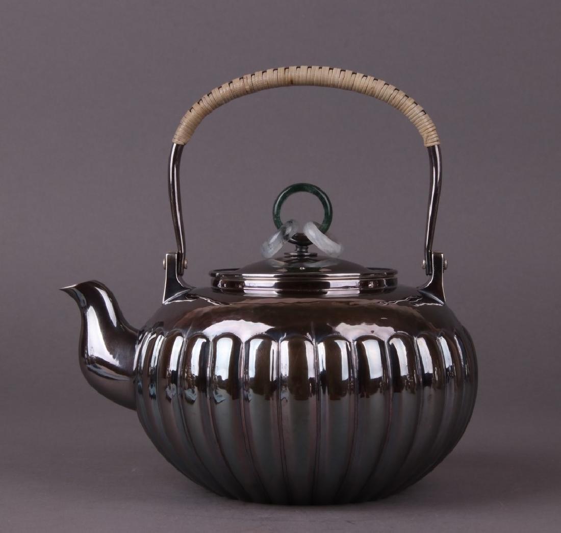Japanese Silver Tea Pot With Mark