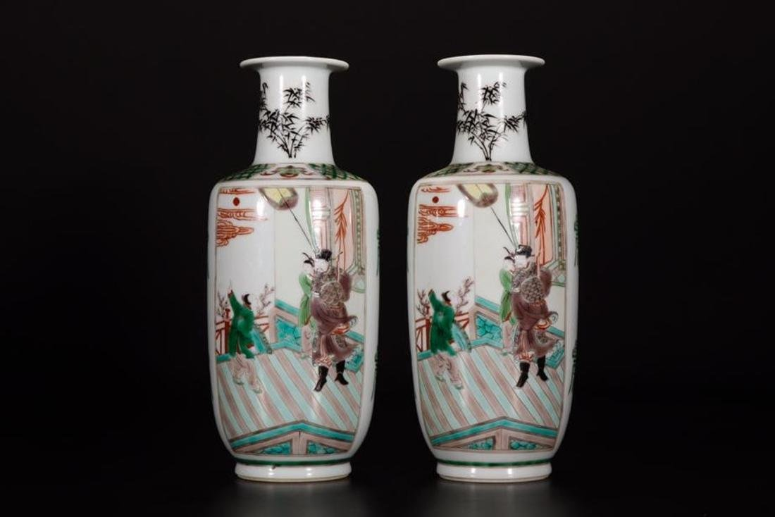Pair Of Famille Verte Rouleau Vases With Mark