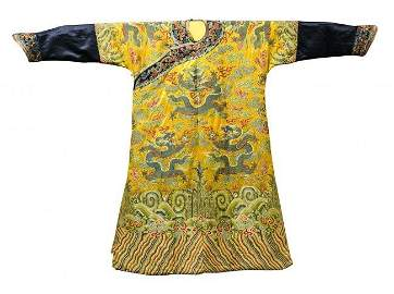 Imperial Yellow-Ground Embroidered Formal Dragon Robe