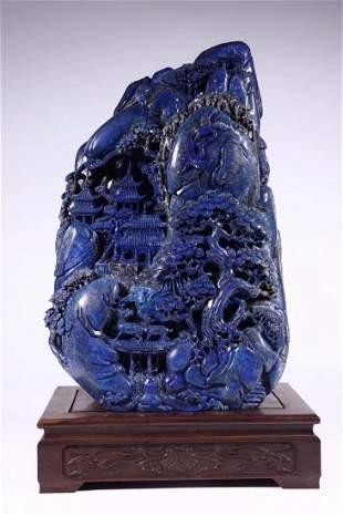 Carved Lapis Lazuli Stone Mountain