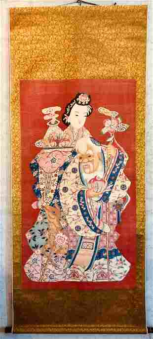 Scroll Painting Of LiTieGuam Caihe With Deer On Silk