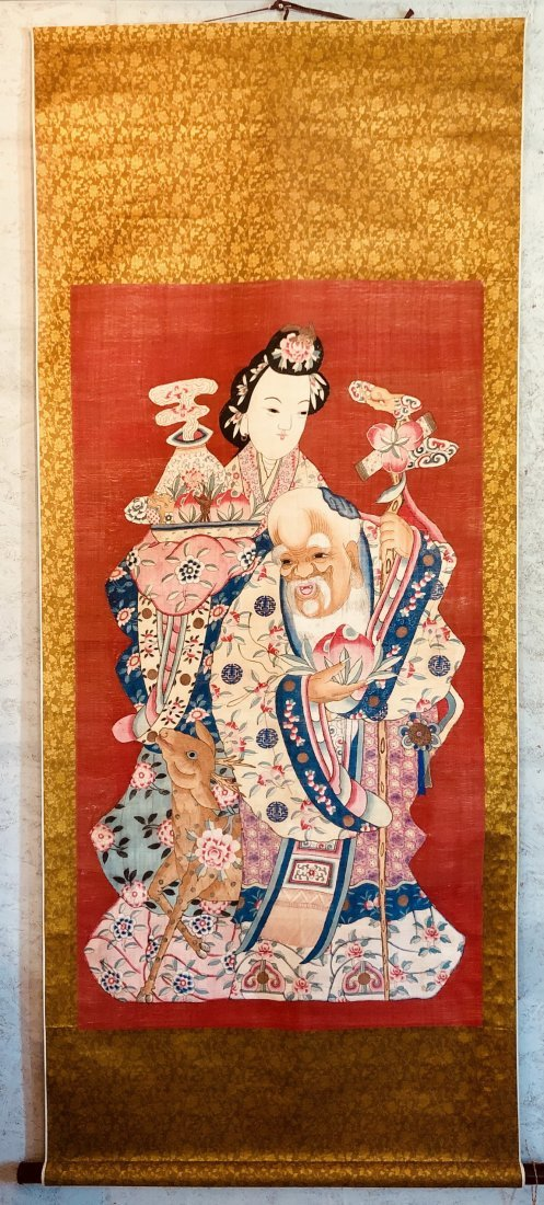 Scroll Painting Of LiTieGuam & Caihe With Deer On Silk