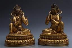 Two Gilt Bronze Figures Of Tara