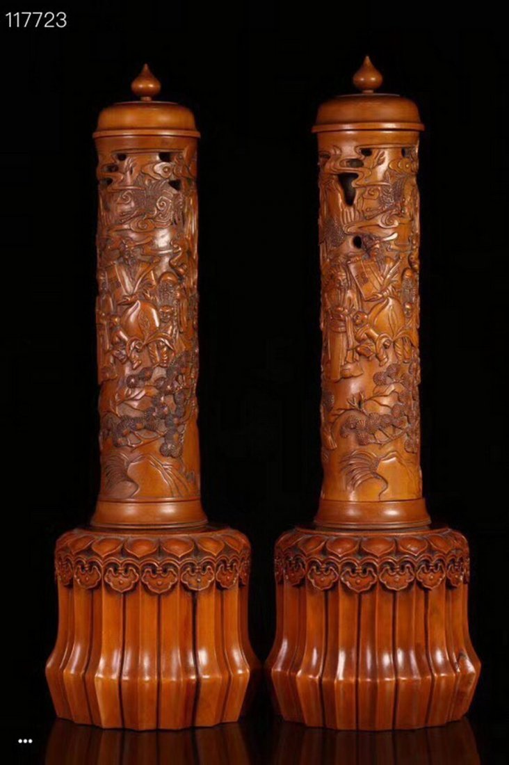 A Pair Of Carved Boxwood Censer