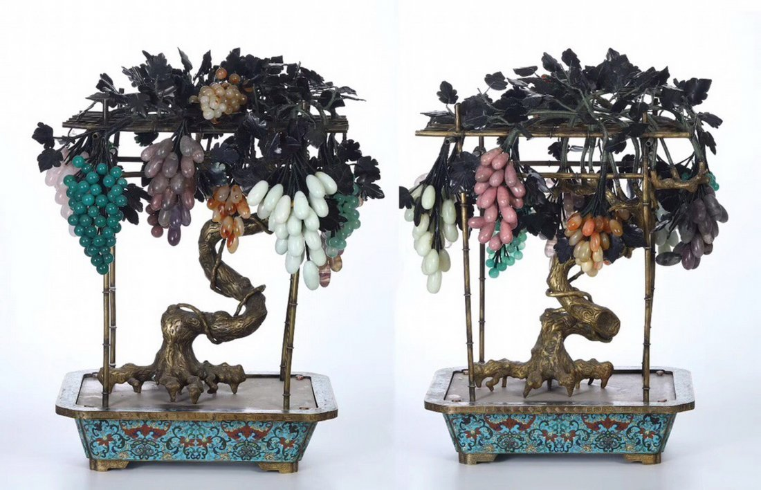 A Pair Of Cloisonne Bronze Plates With Jade Grape