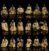 Set Of Gilt Bronze Figures Of Eighteen Luohan