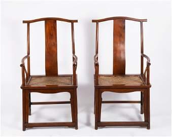 A Pair Of Yokeback  Huanghuali Arm Chairs