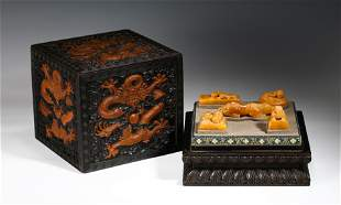 Carved Soapstone Seals And Animal Figure