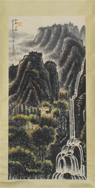 Chinese Painting Of Mountain  With Artists Mark