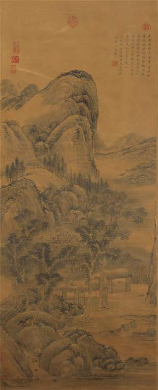 Chinese Painting Of A Mountain Valley With Artists Mark