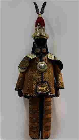 Chinese Manchu Imperial Silk Armor Suit and Helmet