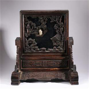 A CARVED HARDWOOD TABLE SCREEN