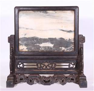 A MARBLE INLAID ROSEWOOD TABLE SCREEN