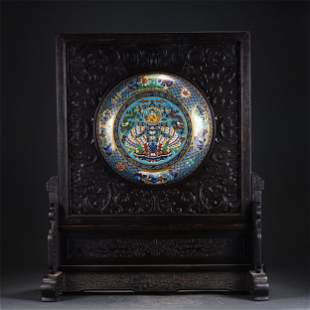 A CLOISONNE ENAMEL INLAID ROSEWOOD TABLE SCREEN