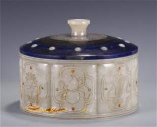 A SILVER-WIRE INLAID WHITE JADE BOX AND COVER