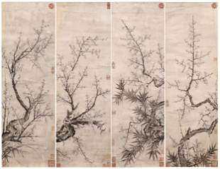 CHINESE PAINTING FOUR PANELS OF PRUNUS AND BAMBOO