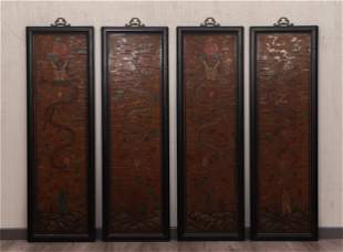 FOUR POLYCHROME LACQUER DRAGON HANGING SCREENS