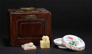 A GROUP OF THREE SCHOLARS ITEMS WITH WOODEN BOX