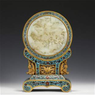 A WHITE JADE INLAID CLOISONNE ENAMEL TABLE-SCREEN